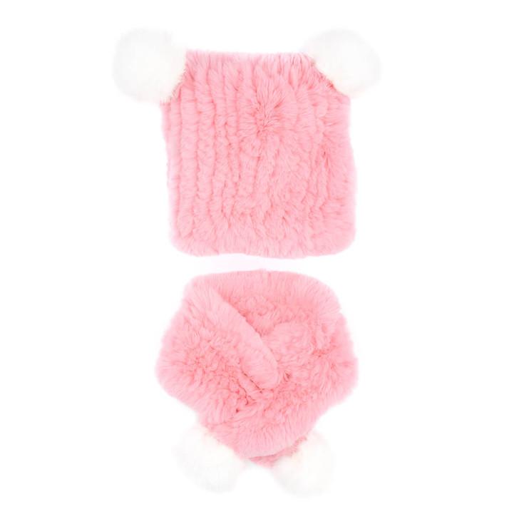 Children's Rex Rabbit Fur Textile Knit Hat and Scarf Set