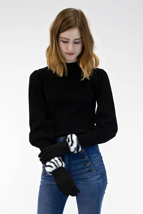 Faux Suede Gloves with Faux Rex Rabbit Fur Zebra Cuff