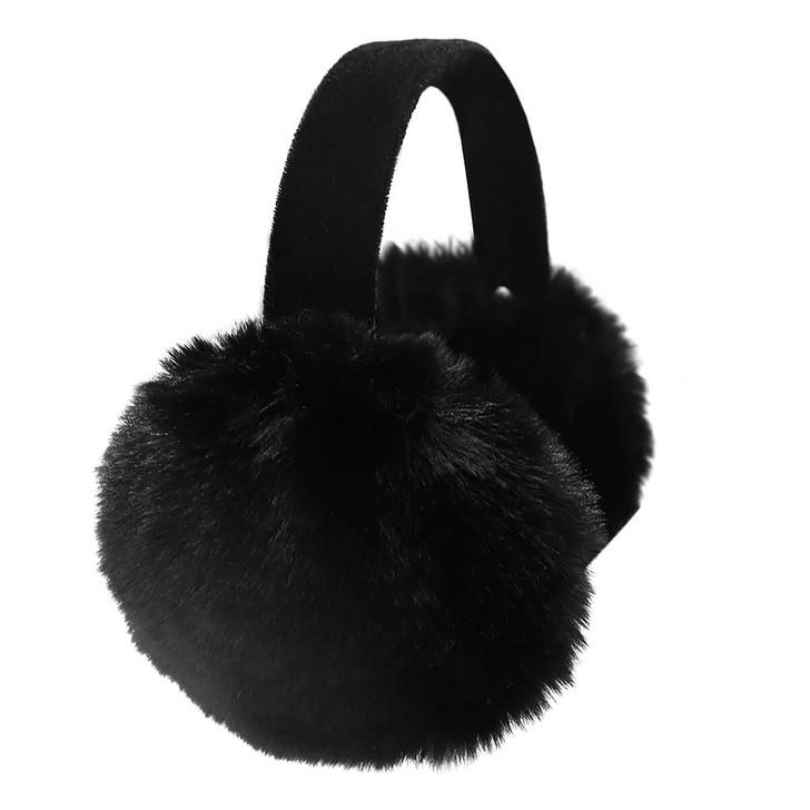 Children's Faux Rex Rabbit Fur Earmuffs with Black Velvet Band