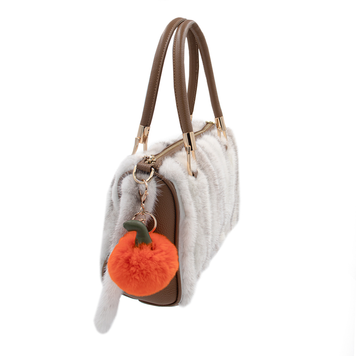 Rex Rabbit Fur Pumpkin Keychain