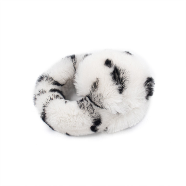 White and Black Spotted Rex Rabbit Earmuffs with Halo Band
