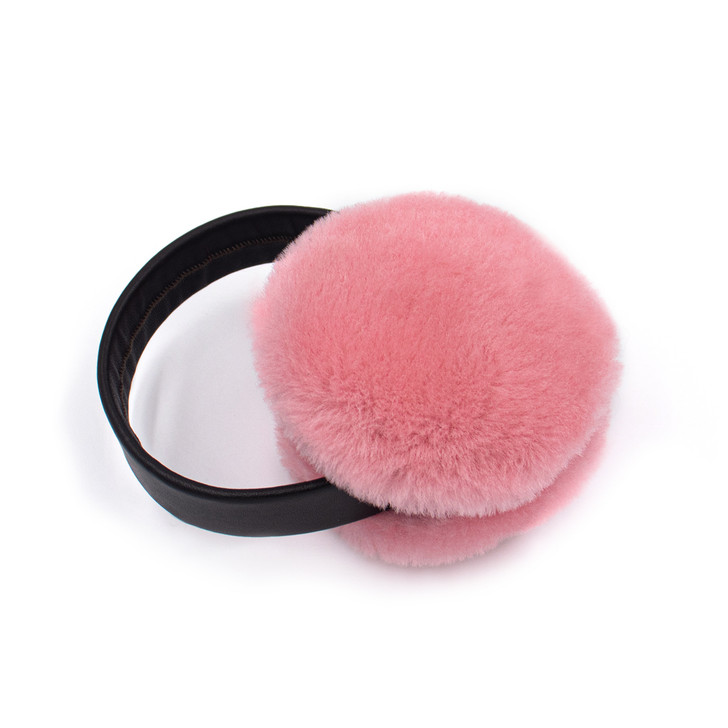 Pink Shearling Earmuffs with Leather Band