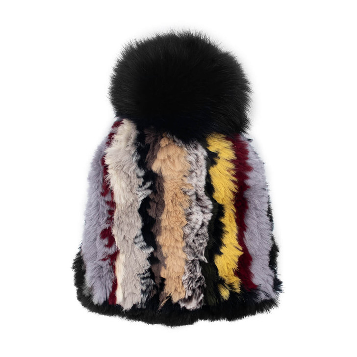 Rabbit Fur Knit Beanie with Fox Fur Pom