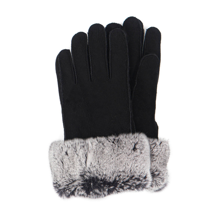Shearling Gloves with Rex Rabbit Fur Cuff