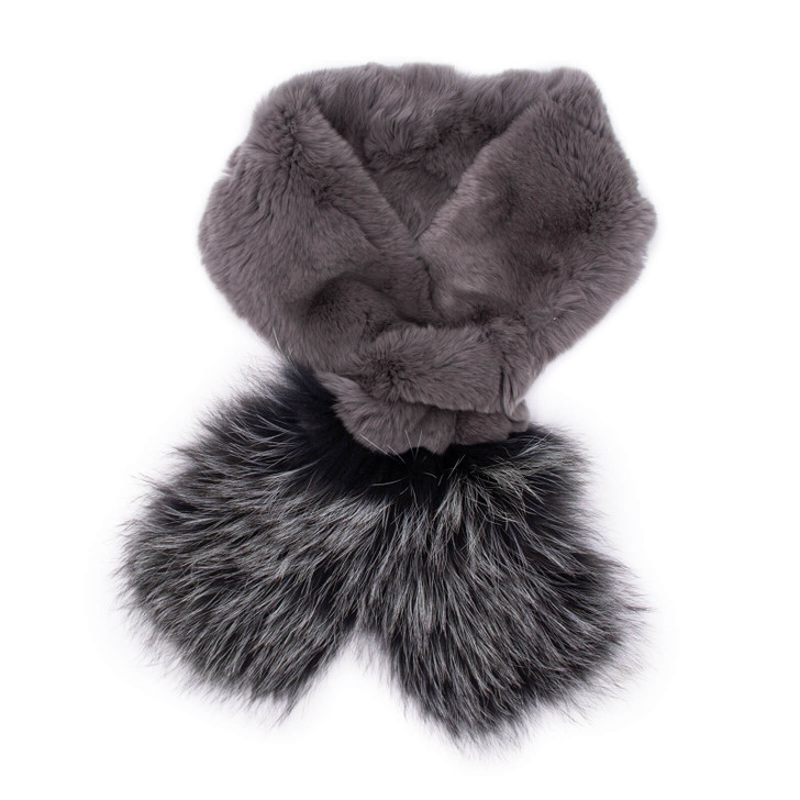 Rex Rabbit Pull-Through with Fox Fur Trim