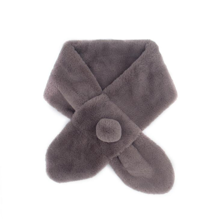 Faux Rex Rabbit Fur Pull-Through with Pom