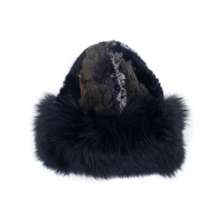 Rex Rabbit Textile Knit Hat with Fox Fur Trim