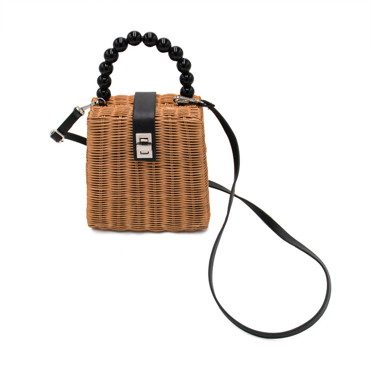 Straw Purse with Beaded Handle