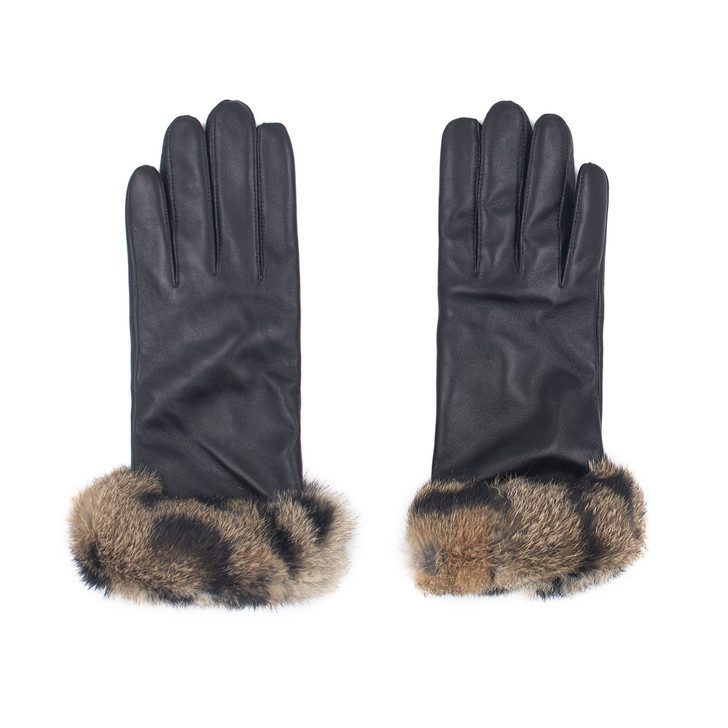 Leather Gloves with Spotted Rabbit Fur Cuff
