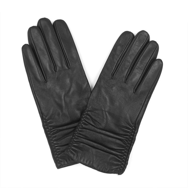 Ruched Leather Gloves with Cashmere Lining