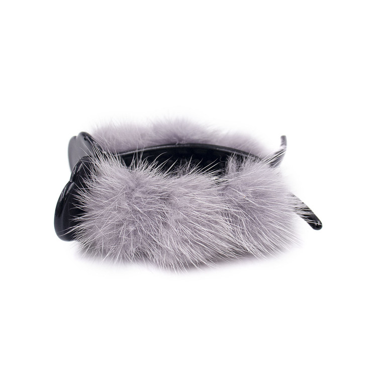 Hair Clip with Mink Poms