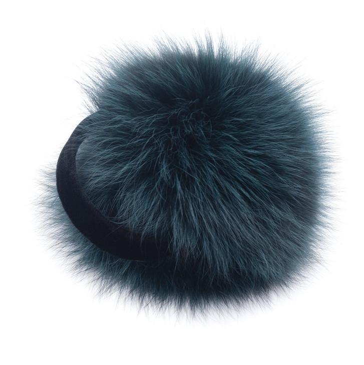 Teal Frost Fox Fur Earmuffs
