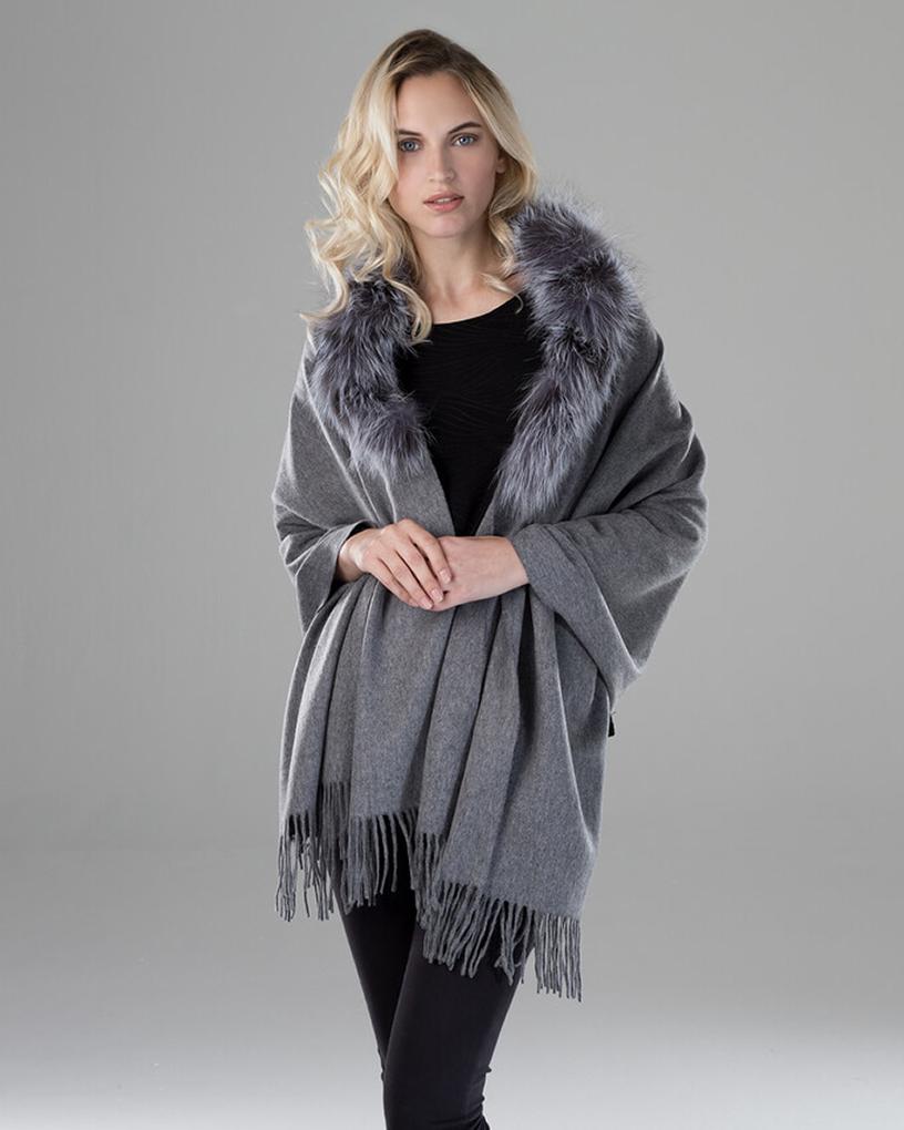 Wool Shawl with Fox Fur Trim