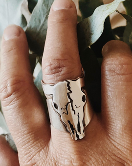 Spirit Guide Skull Ring - Silver