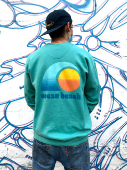 Ocean Beach Crewneck Sweatshirt // Teal