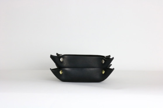 Leather Catch-all Tray: Black Horween