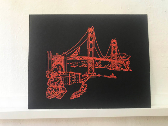 Golden Gate Bridge Screenprint