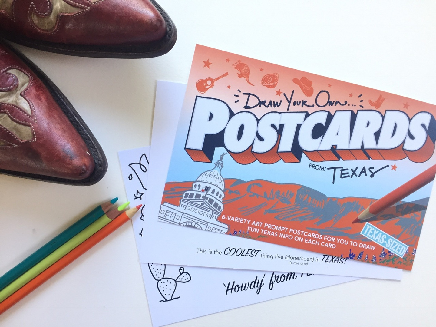TEXAS-SIZED Texas POSTcards | Draw Your Own (6-Variety)
