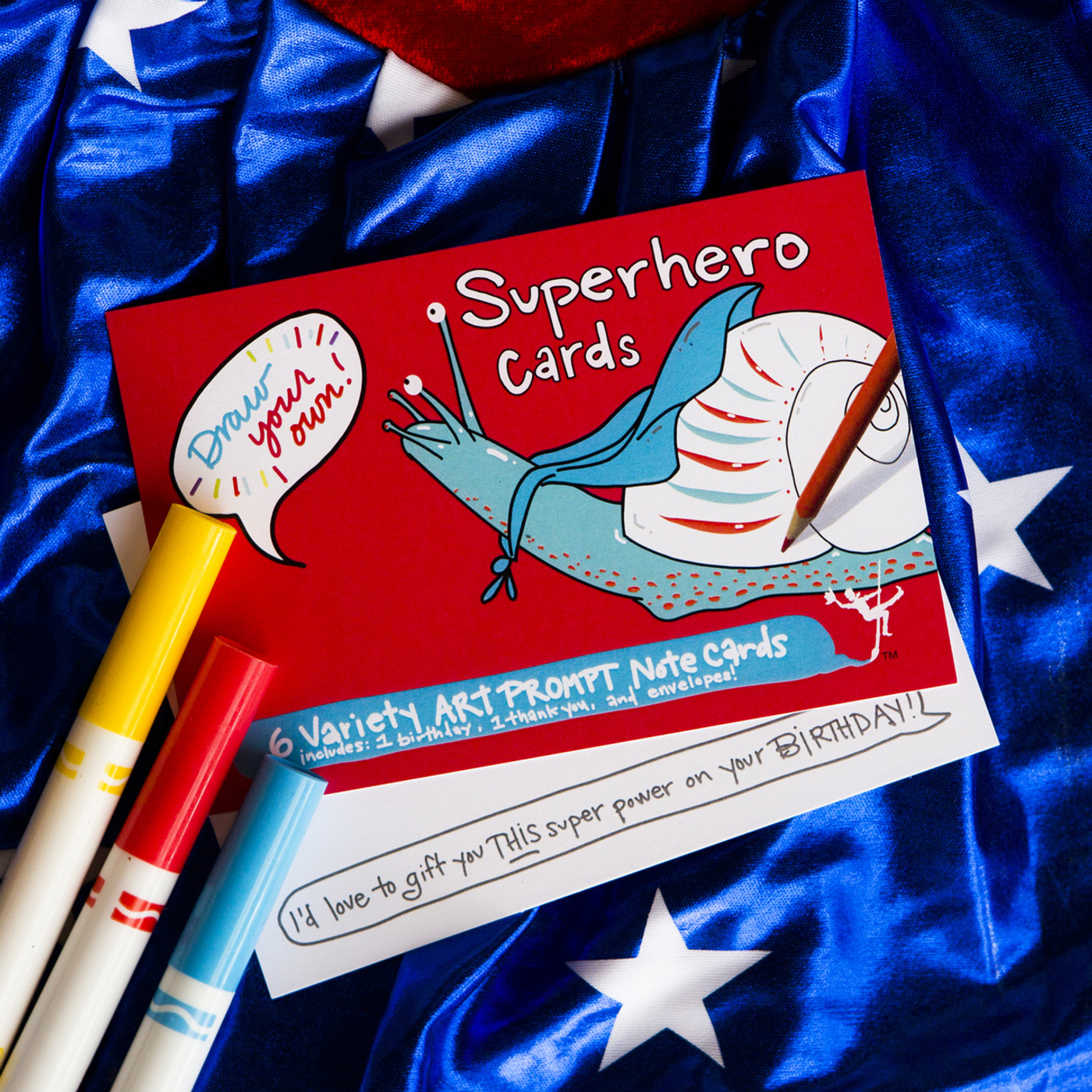 Superhero Cards | Draw Your Own (6-Variety / Includes 1 Birthday + 1 Thank You)
