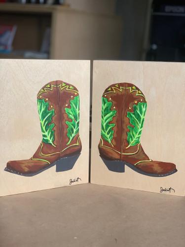 """Bur Oak Boots Diptych- (2/ 6 x 8"""")"""