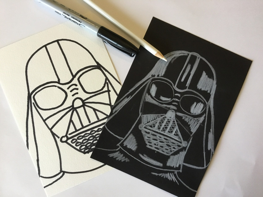 2 Easy How To Draw Darth Vader Videos (May the force be with you).