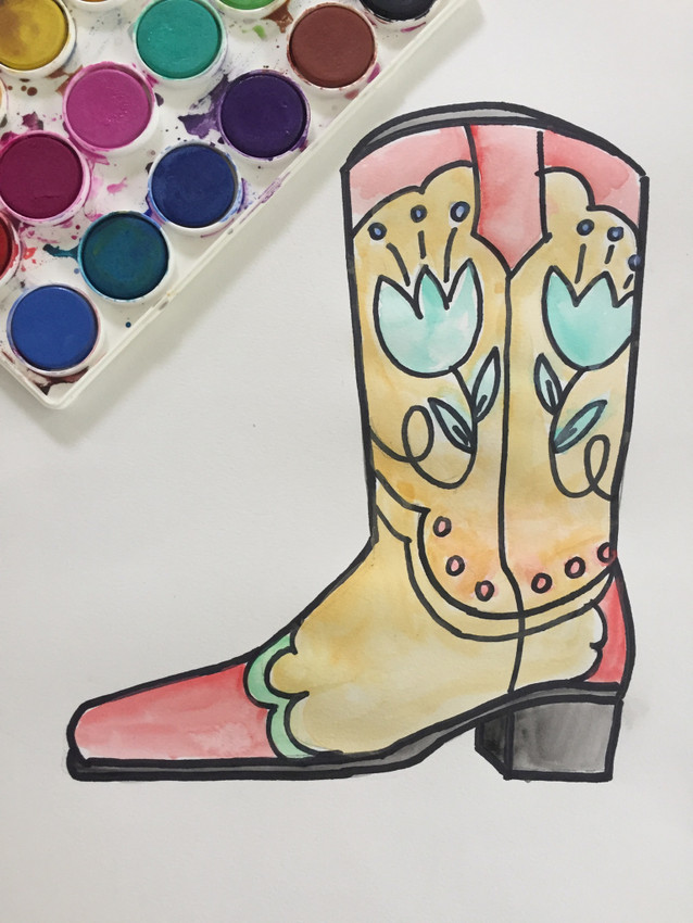 How to Draw a Cowgirl/ Cowboy Boot