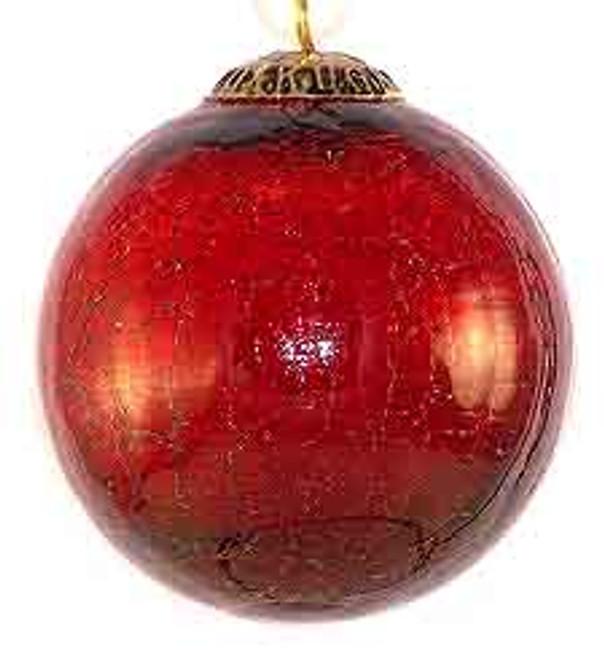 Brass Cap Red Crackle Kugel