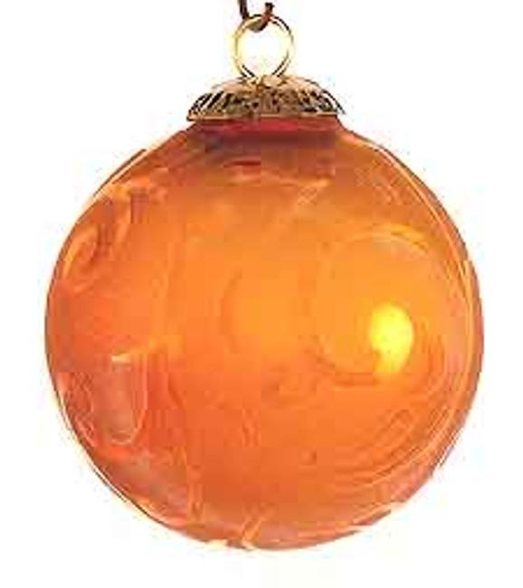Brass Cap Dark Amber Etched Kugel