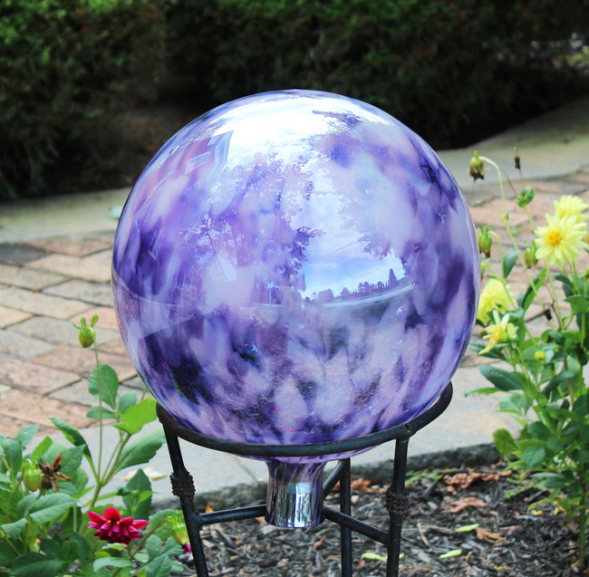 "Garden Gazing Ball ""Hyacinth Pink White"""