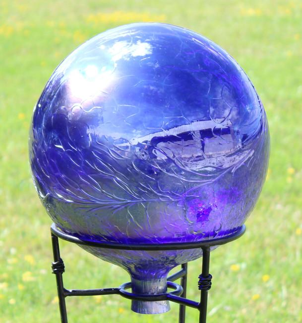 """Glass Gazing Ball """"Cobalt Blue"""" Iridescent Finish  12 Inch"""