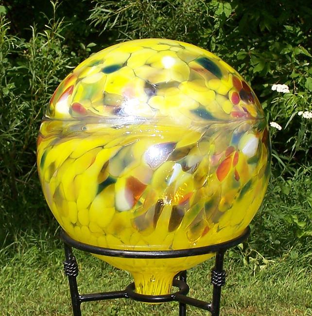 """Glass Gazing Ball """"Circus Yellow"""" 12 Inch Iridized"""