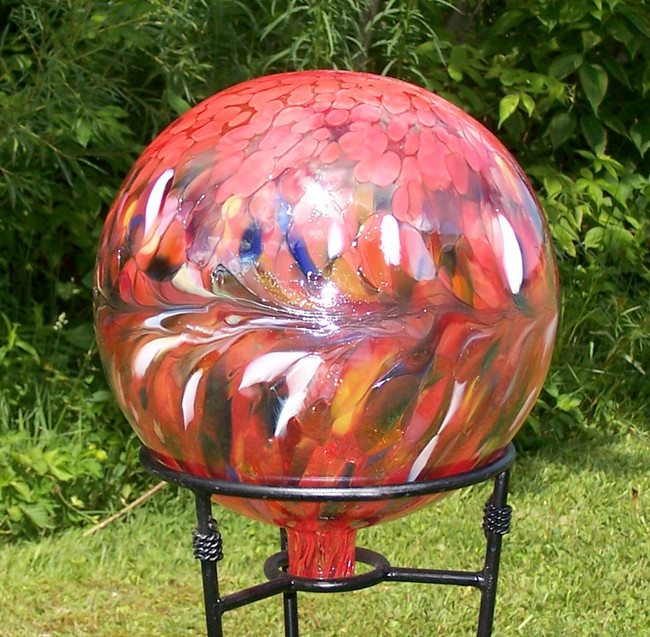 "Glass Gazing Ball ""Circus Red"" 12 Inch Iridized"