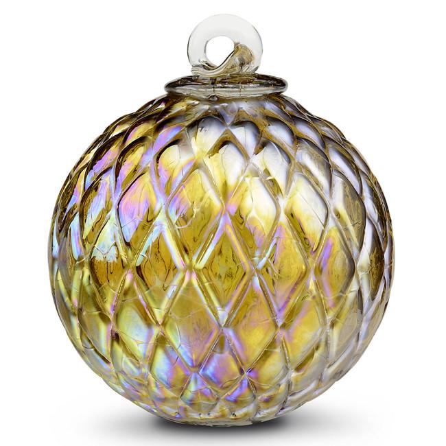 Diamond Optic Friendship Ball, Amber Iridized (4 inch)