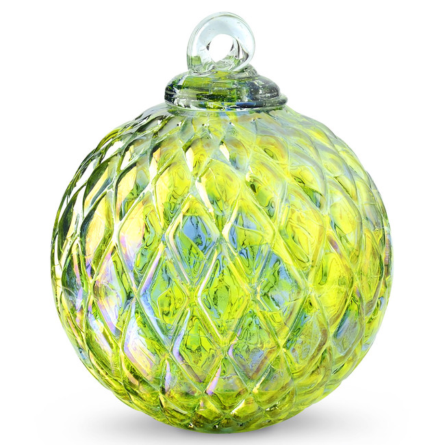Diamond Optic Friendship Ball, Kind of Blue / Kind of Green Iridized (4 inch)