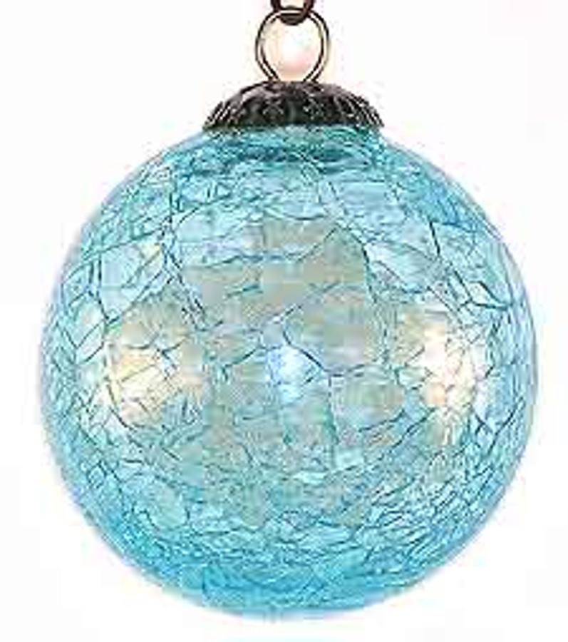 Brass Cap Aqua Crackle Kugel