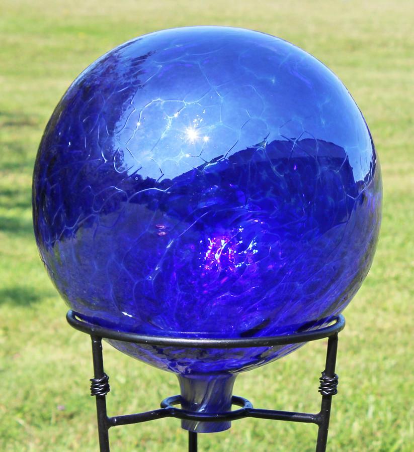 """Glass Gazing Ball """"Cobalt Blue"""" 12 Inch Iridized Factory 2nds"""