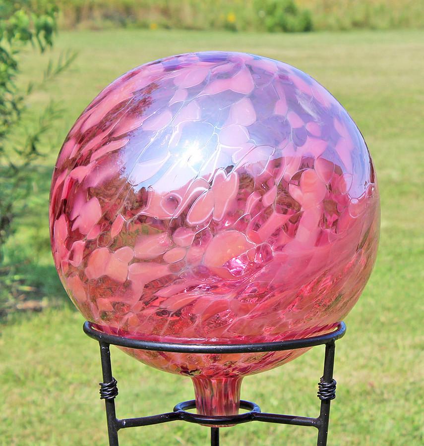 "Glass Gazing Ball ""Tea Rose"" 12 Inch Factory 2nd"