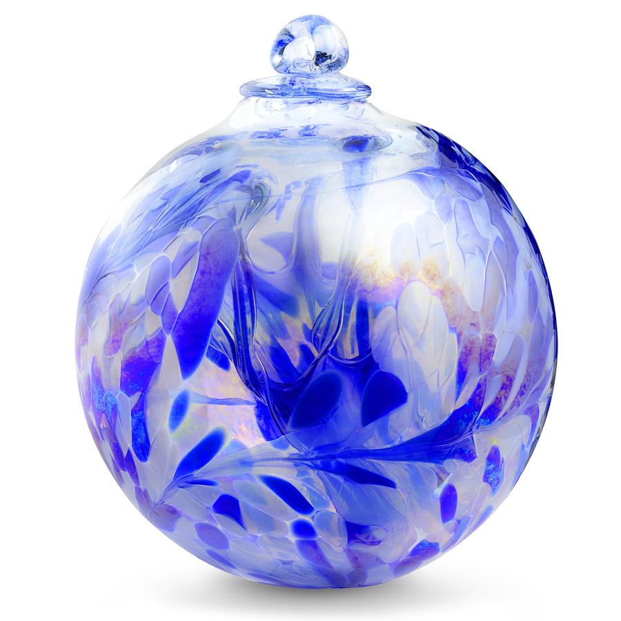 """XXL Witch Ball """"Delft Blue"""" Iridized 10 Inch"""