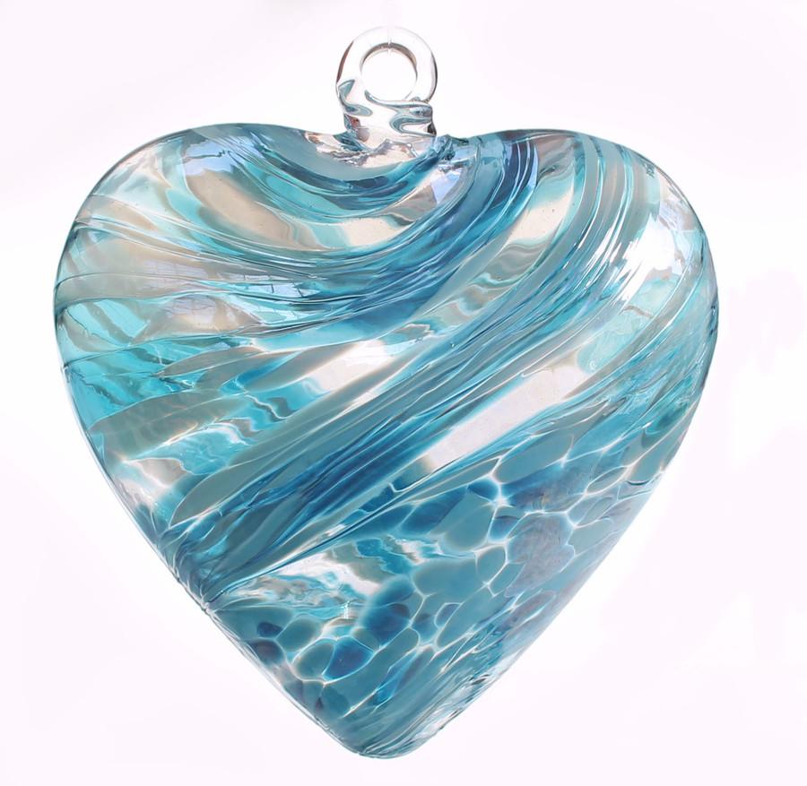 "Large Heart ""Sea Green"" Iridized"