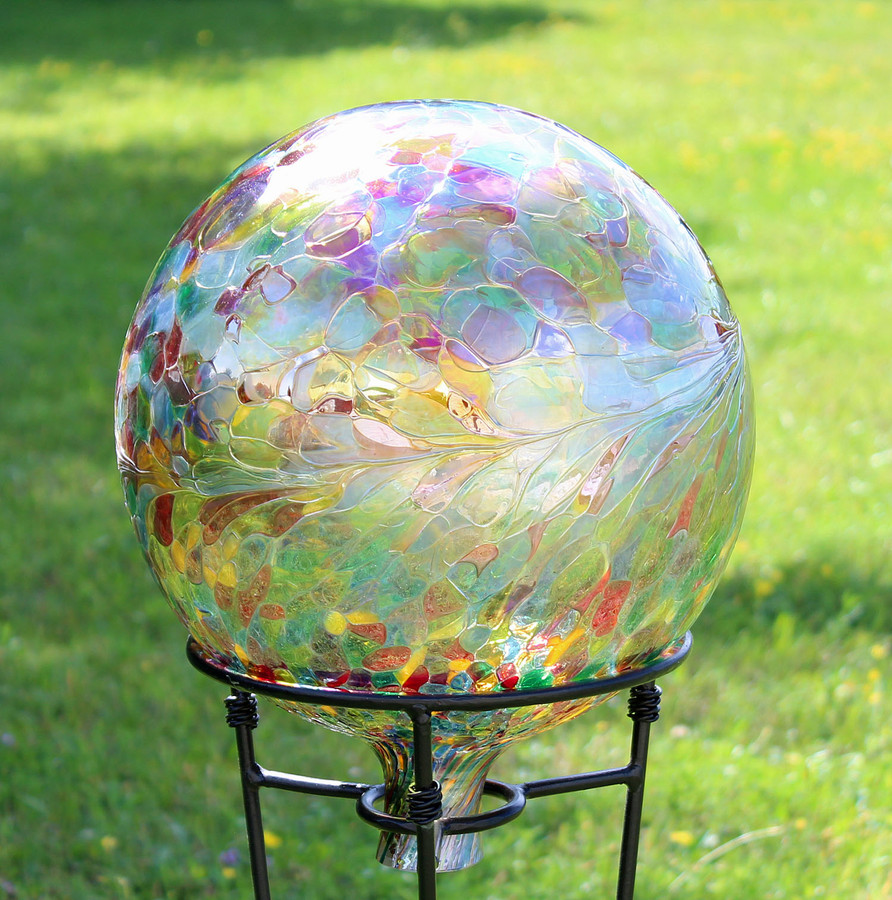 "Glass Gazing Ball ""Multicolor Iridescent Finish"" 12 Inch"