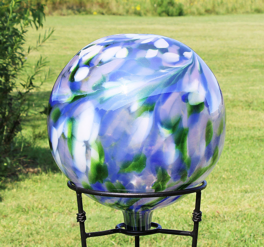"Glass Gazing Ball ""Garden View"" 12 Inch"