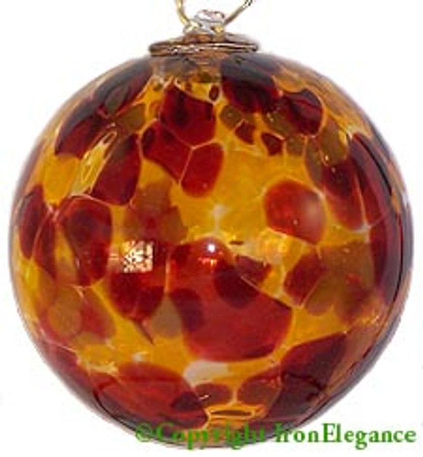 Amber, Dark Red & Gold 3 Inch Kugel (Autumn)