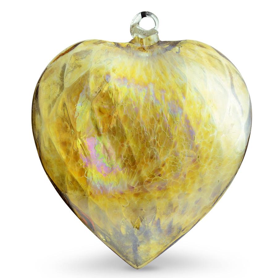 Diamond Optic Extra Large Heart, Amber Iridized