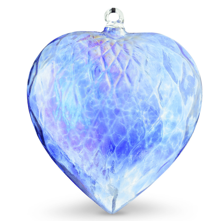 Diamond Optic Extra Large Heart, Sari Blue Iridized