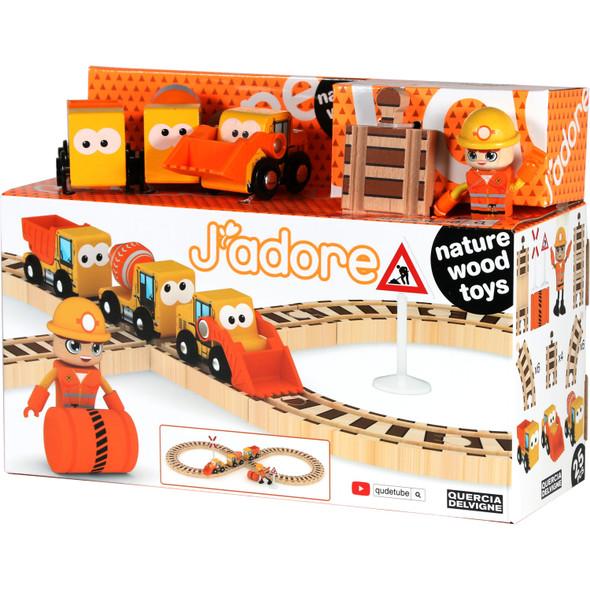 Wooden Construction Train Playset