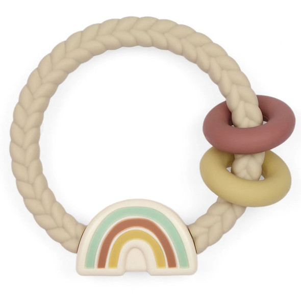 Ritzy Rattle with Teething Rings - Neutral Rainbow