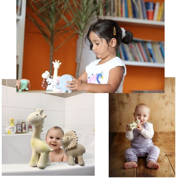 Organic Natural Rubber Rattle and Teether - Giraffe