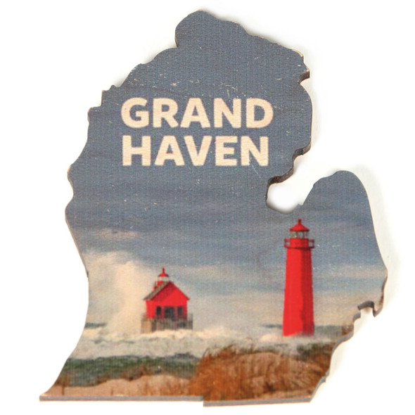 Wooden Magnet - Grand Haven Michigan Lighthouses