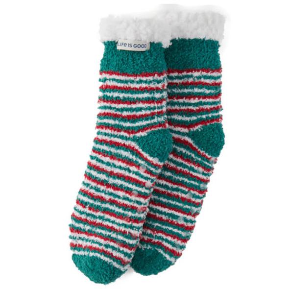 Holiday Stripe Snuggle Slipper Socks