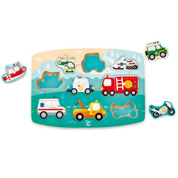 Emergency Vehicles Wooden Peg Puzzle